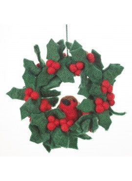Christmas tree decoration - Mini Holly Wreath with Robin