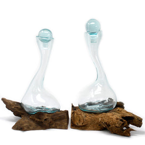 Molten Glass Wine Decanter on Gamal Root
