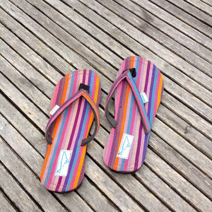 Whaletreads: Recycled Tyre Flip-flops - Multi-coloured Stripe