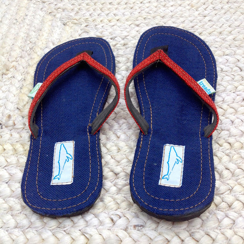 Whaletreads: Recycled Tyre Flip-flops - Navy Hemp