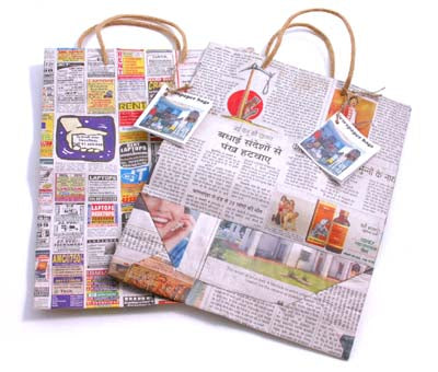 Recycled Newspaper Bags - Choice of 2 sizes