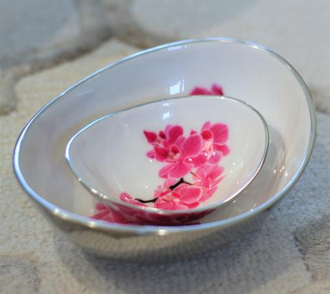 Recycled aluminium oval bowl - Pink Orchid