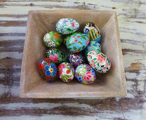 Papier mache mini egg - assorted colours and designs