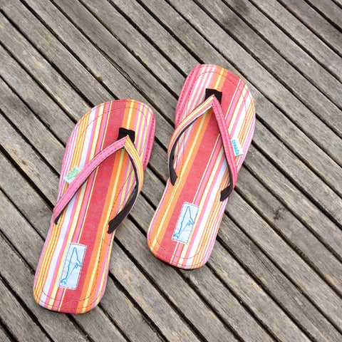 Whaletreads: Recycled Tyre Flip-flops - Pink/Orange Stripe