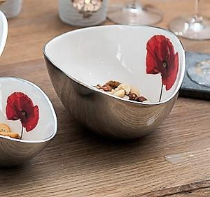 Recycled aluminium oval bowl - Red Poppy