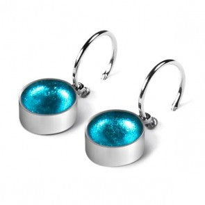 Rainbow Metal Button creole earrings