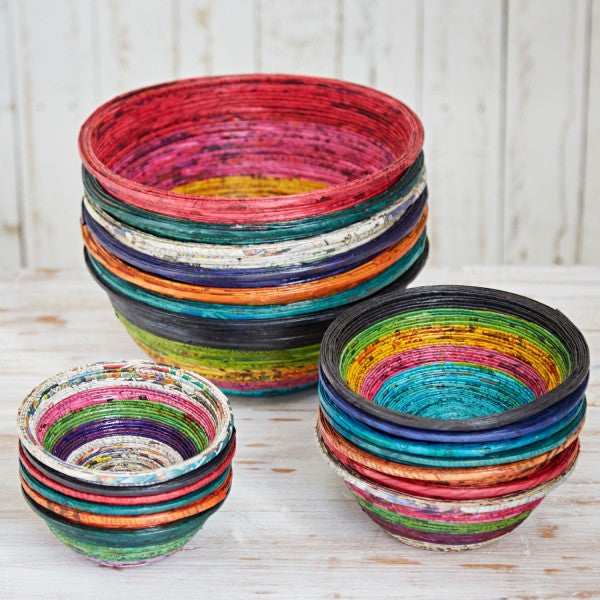 Recycled Newspaper Round Bowl - Medium