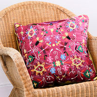 Large embroidered floral cushions