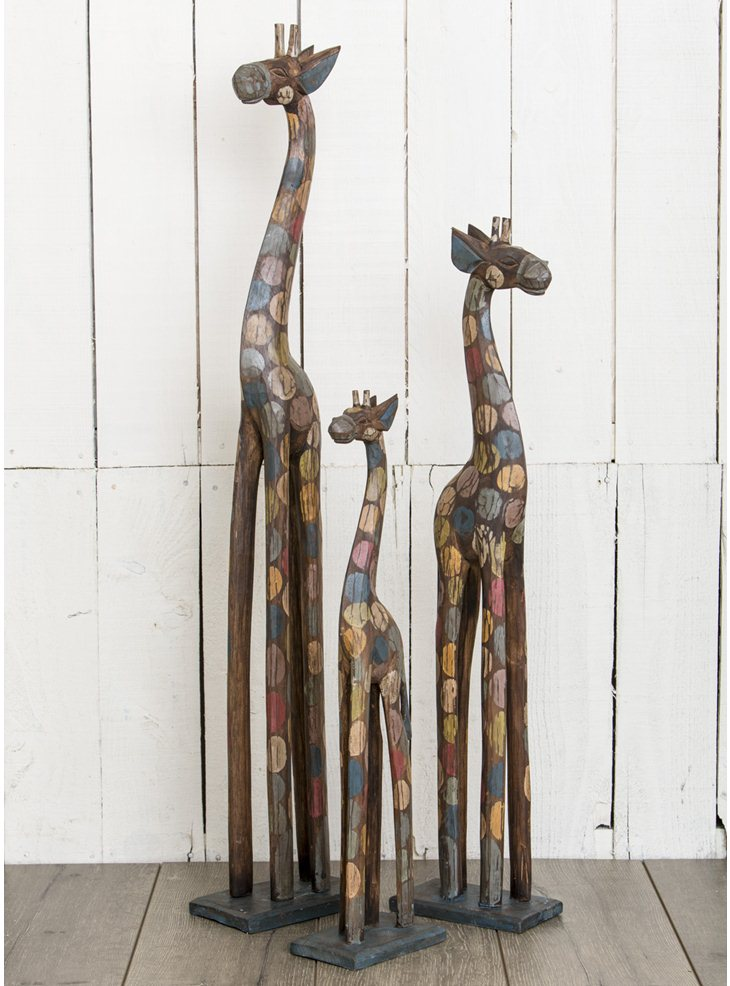 Spotty Giraffe Carved Ornaments - Choice of 3 sizes