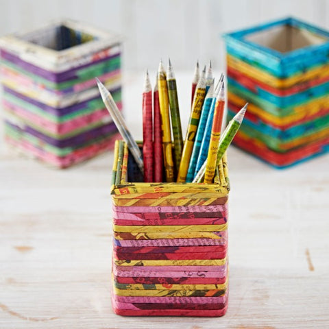 Recycled Newspaper Pencil Pot