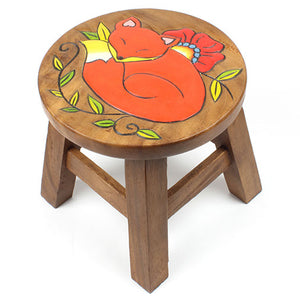 Small Acacia Wood Stool - Fox