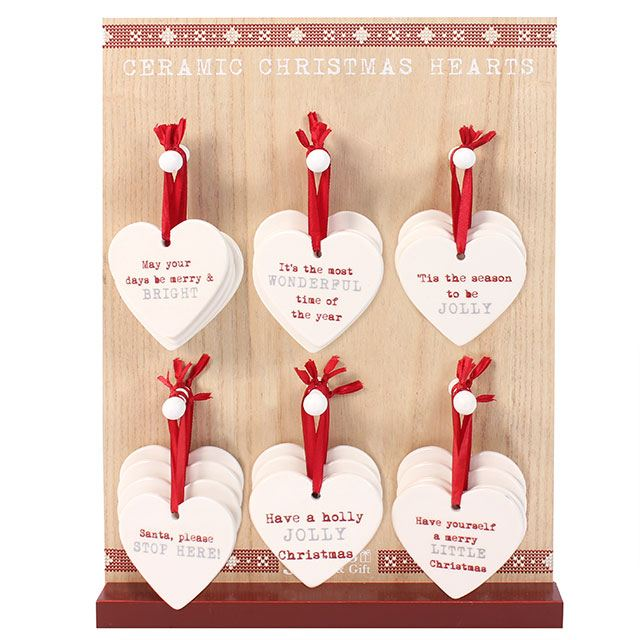 Ceramic Christmas Hearts - Choice of 6 messages