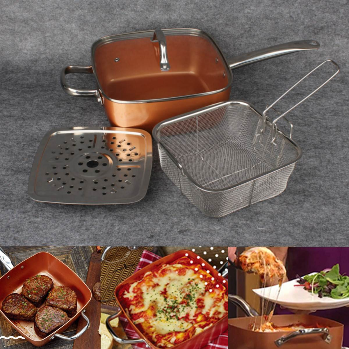 Non- stick Depp Dish Copper Square Pan with Ceramic Coating and Induction [10 inches]