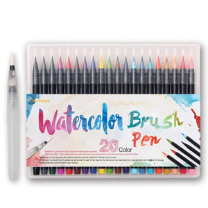Premium Watercolor Brush Pens - 20 Pieces