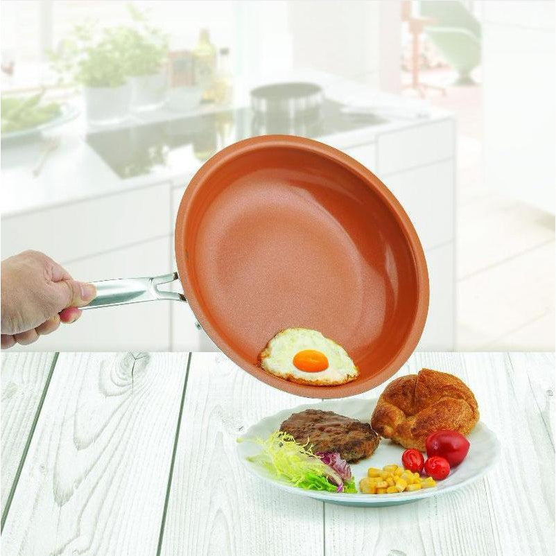 Slippy™ Non-Stick Copper Frying Pan with Ceramic Coating and Induction (10 Inches)