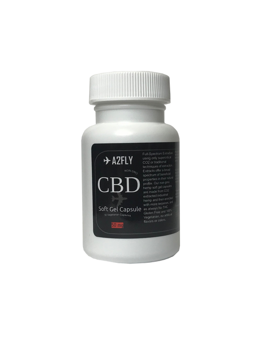 ✈A2FLY Hemp CBD Soft Gel Capsules 50mg.