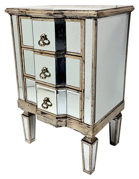 Mirrored bedside chest of drawers