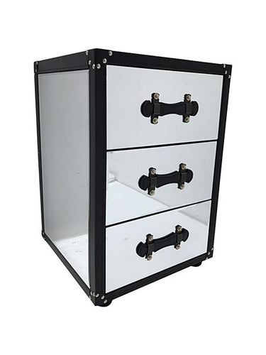 Mirrored luggage-style bedside cabinet
