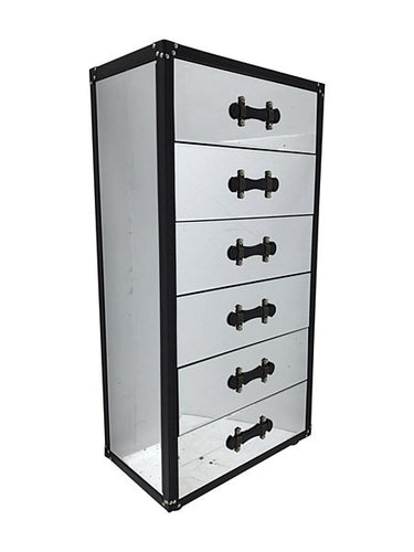 Mirrored luggage-style tall chest of drawers