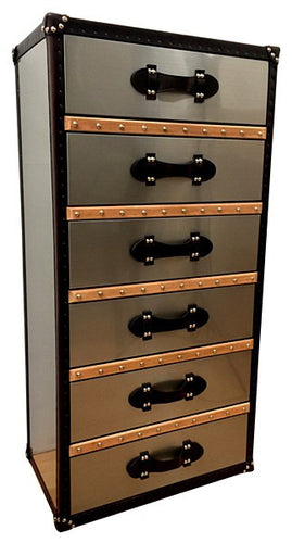 Aluminium luggage-style tall chest of drawers