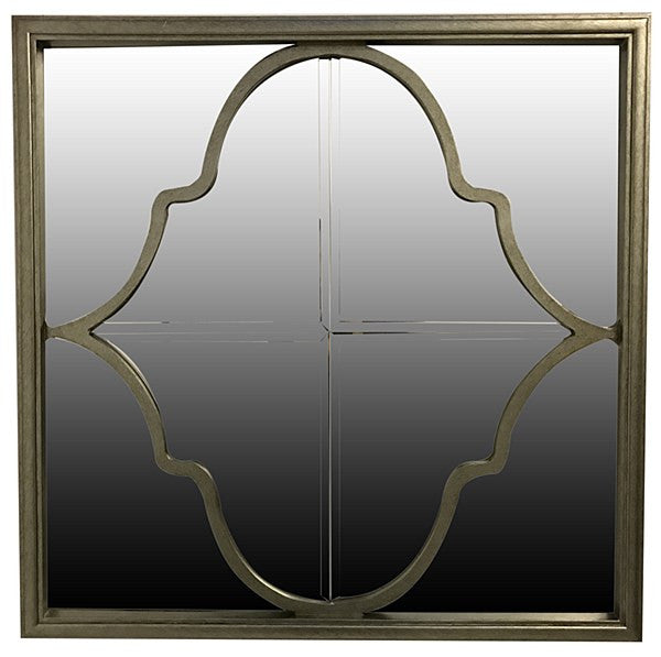 Mirror with geometric overlay