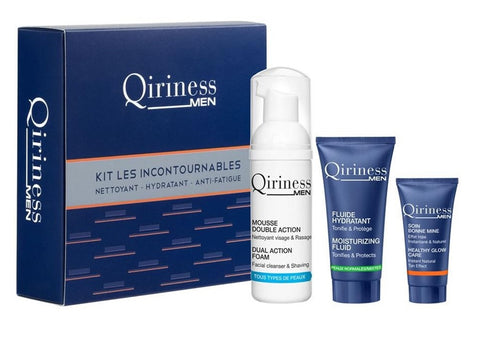 Qiriness Men zestaw The Indispensables Kit Double Action Foam 50ml + Moisturizing Fluid 15ml + Healthy Glow Care 5ml