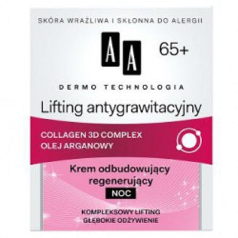 AA Dermo Technology Antigravitational Lifting Night Cream 65+ odbudowująco-regenerujący krem na noc 50ml