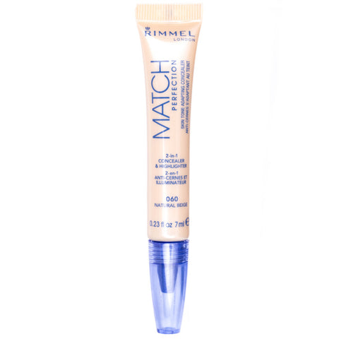 Rimmel Match Perfection Concealer & Highlighter korektor rozświetlający 060 Natural Beige 7ml