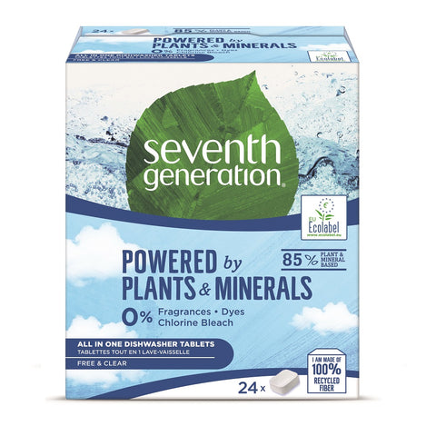 Seventh Generation Powered By Plants All In One Dishwasher Tablets tabletki do zmywarki Free & Clear 24szt