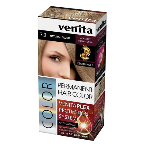 Venita Plex Protection System Permanent Hair Color farba do włosów z systemem ochrony koloru 7.0 Natural Blond