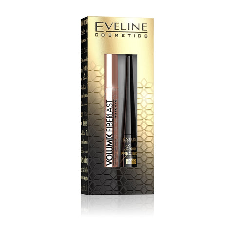 Eveline Cosmetics Zestaw Volumix Fiberlast Ultra False Lash Effect Mascara tusz do rzęs 10ml + Liquid Precision 2000 Procent Eyeliner liner w pędzelku Black 4ml
