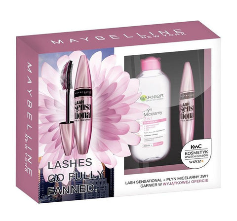 Maybelline Zestaw Lash Sensational Mascara tusz do rzęs Black 9.5ml + Garnier Skin Naturals płyn micelarny 3w1 400ml