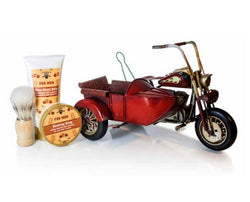 Pokhara Vintage Motorcycle with Sidecar Shaving Gift For Men zestaw balsam po goleniu 150ml + mydło do golenia 50g + pędzel do golenia