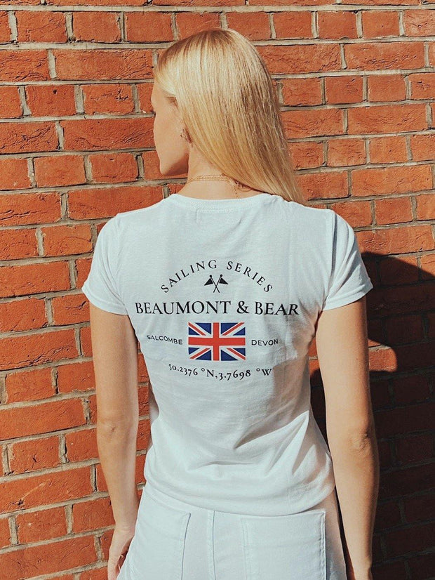 The Salcombe Sailing Ladies T-Shirt - White - Beaumont & Bear