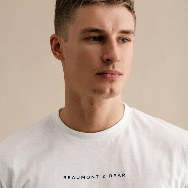 The Dartmouth Mens T-Shirt - White/Navy - Beaumont & Bear
