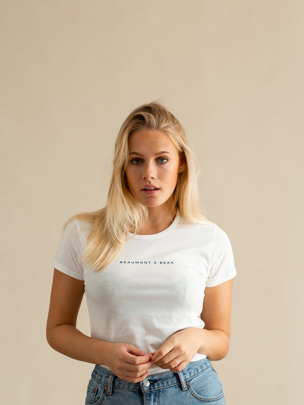 The Dartmouth Ladies T-Shirt - White/Navy - Beaumont & Bear