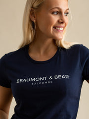 Salcombe Harbour Ladies T-Shirt - Navy - Beaumont & Bear