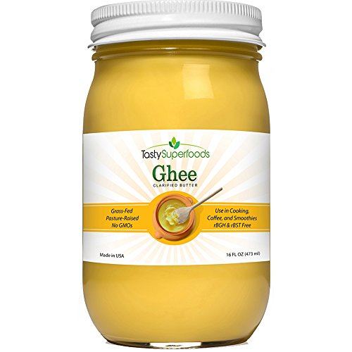 Tasty Superfoods Grass Fed Organic Ghee - Glass Jar of Pure, Unsalted Clarified Butter from Grass-Fed Cows