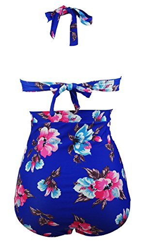Cocoship Retro 50s Black Pink Blue Floral Halter High Waist Bikini Carnival Swimsuit