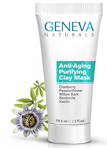 Purifying Clay Face Mask - Natural Anti-Aging Formula With Cranberry, Passionflower, Willow Bark, Bentonite and Kaolin for Men & Women - 2oz