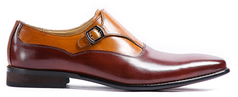 BROWN AND TAN MONK STRAP