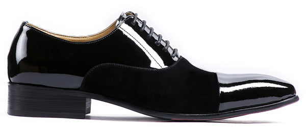 BLACK SUEDE AND WET LOOK LACE UP