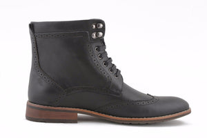 BLACK WING TIP BOOTS