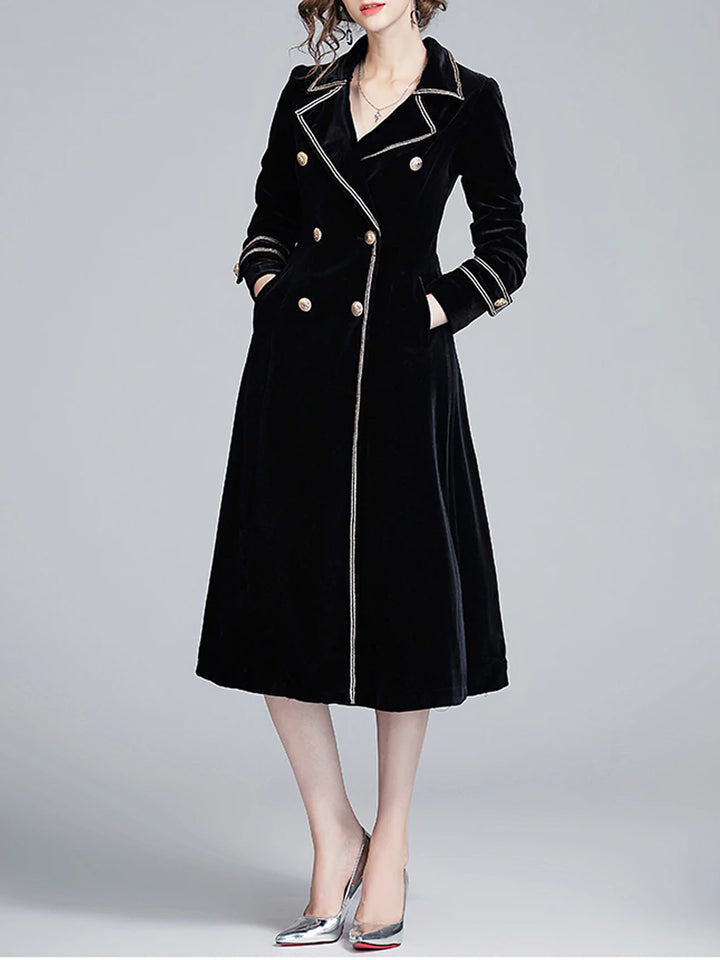 Double-Breasted Velvet Trench Coat