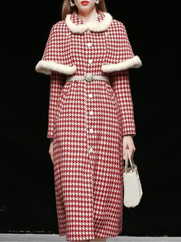 Tweed Plaid Woolen Coat