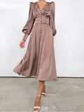 MILLA High Waist Satin Maxi Dress