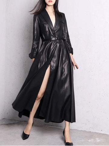 HOUDA Maxi Leather Trench Coat