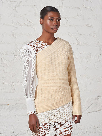 One-Shoulder Cable-Knit Sweater