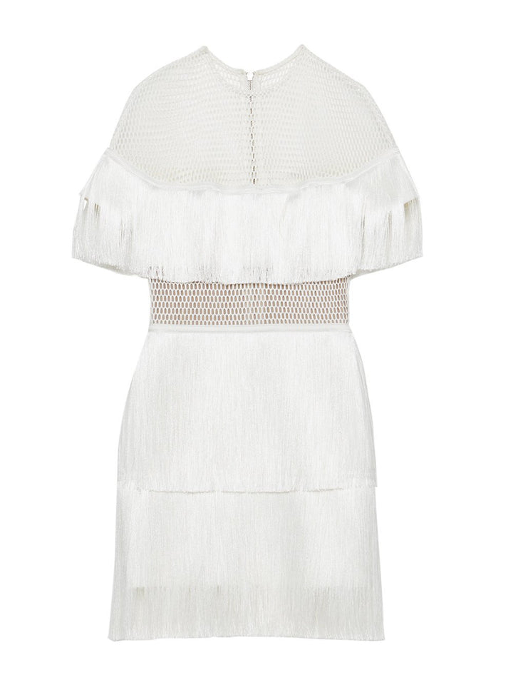 Stretch-Crêpe Fringe Mini Dress in White