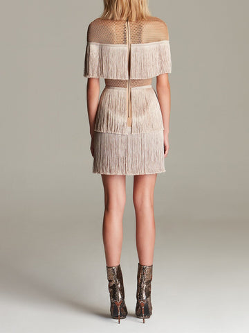 Stretch-Crêpe Fringe Mini Dress in Light Brown